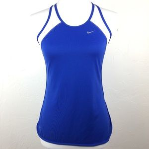 Nike Blue & White Dri-FIT Pacer Running Tank Small